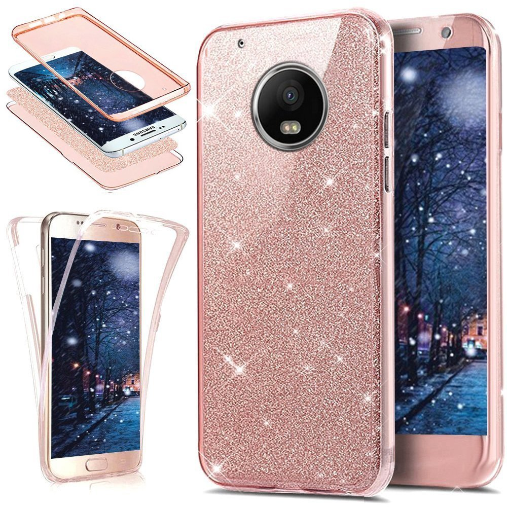 PHEZEN Motorola Moto G5 Plus Case,Moto G5 Plus Glitter Case, Front and Back 360 Full Body Protective Bling Glitter Sparkly Slim Thin TPU Rubber Soft ...