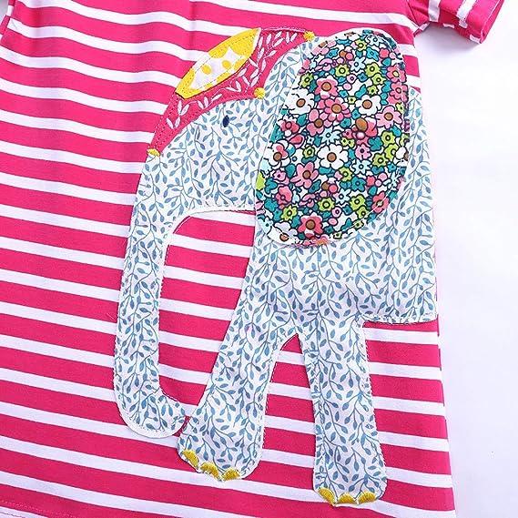 URSING Kleinkind Baby M/ädchen Kleid Kurzarm Streifen Schlafanzug Nachthemd Hausdiens Hemdkleid Freizeitkleid Blusekleid T-Shirtkleid Sommerkleid