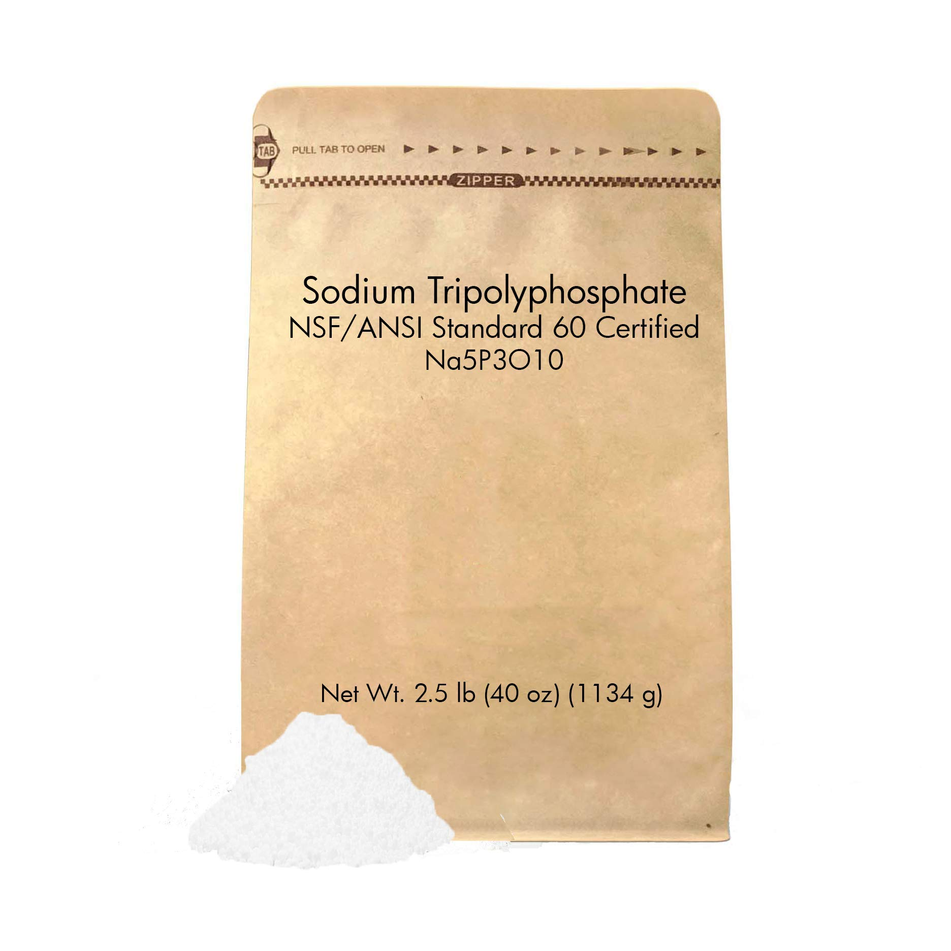 Sodium Tripolyphosphate (2.5 lb) by Pure Organic Ingredients, Eco-Friendly Packaging, Helps Soften Water (Also Available in 0.5 lb, 1 lb, 50 lb)
