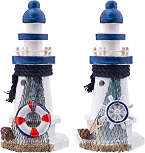 """Wooden Lighthouse, Dedoot Wooden Lighthouse Décor, Decorative Nautical Lighthouse Handmade Wood Lighthouse 6.7"""" Height for Home Decor, Photo Props, Ocean Theme Party and Bathroom Decoration, Pack of 2"""