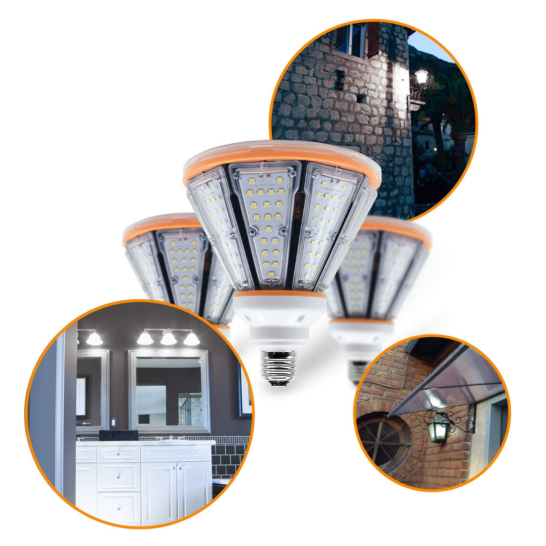 50 Watt LED Corn Light Medium Base E26 Daylight White 6,000K Energy Saving for Backyard Post Top Lamp Porch Canopy Lighting Garage Barn Wall Mount Bulb