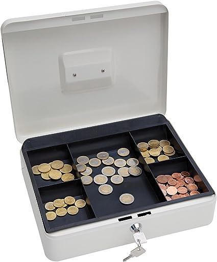 Wedo 145400X - Caja metálica para dinero (2 llaves, soporte para monedas desprendible, acero soldado, 30 x 24 x 9 cm), color blanco: Amazon.es: Oficina y papelería