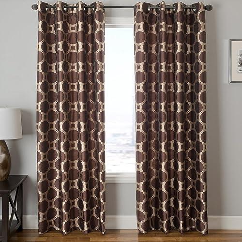Softline Home Fashions Catara Circle Series Woven Jacquard Window Curtain Drape Panel Treatment with Grommet Top, Chocolate Latte, 55 x 96