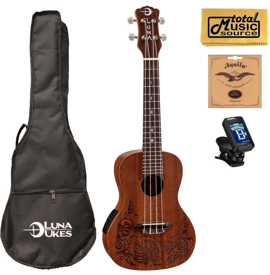 Luna Mahogany Series Mo'o Acoustic-Electric Concert Ukulele w/ Gigbag,Tuner,Strings & PC