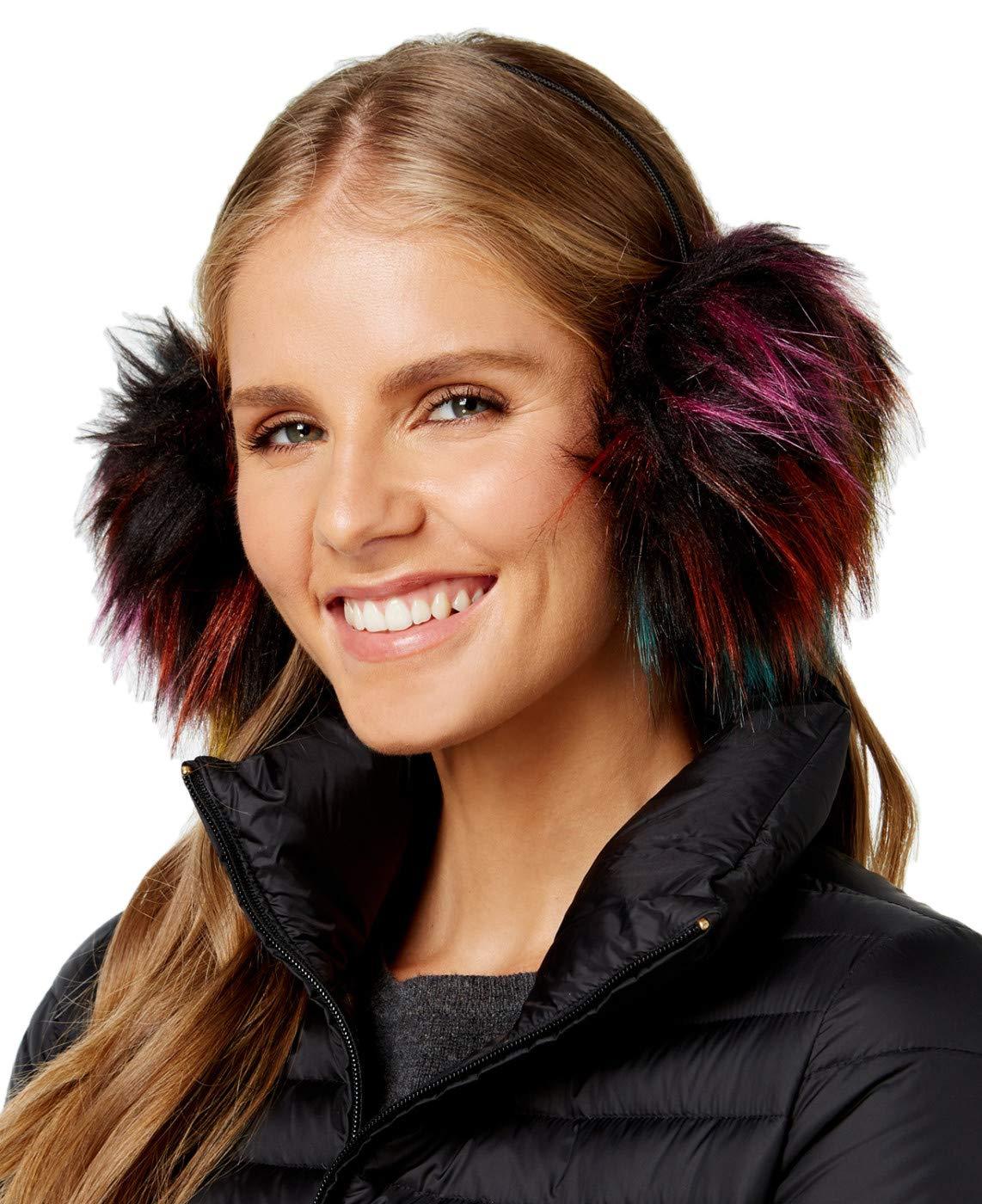 Marcus Adler Womens Faux-Fur Earmuffs One Size Fuschia Multi