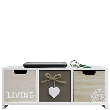 Amazon De Mini Kommode Schrank Living Mit 3 Schubladen 34x13x10cm