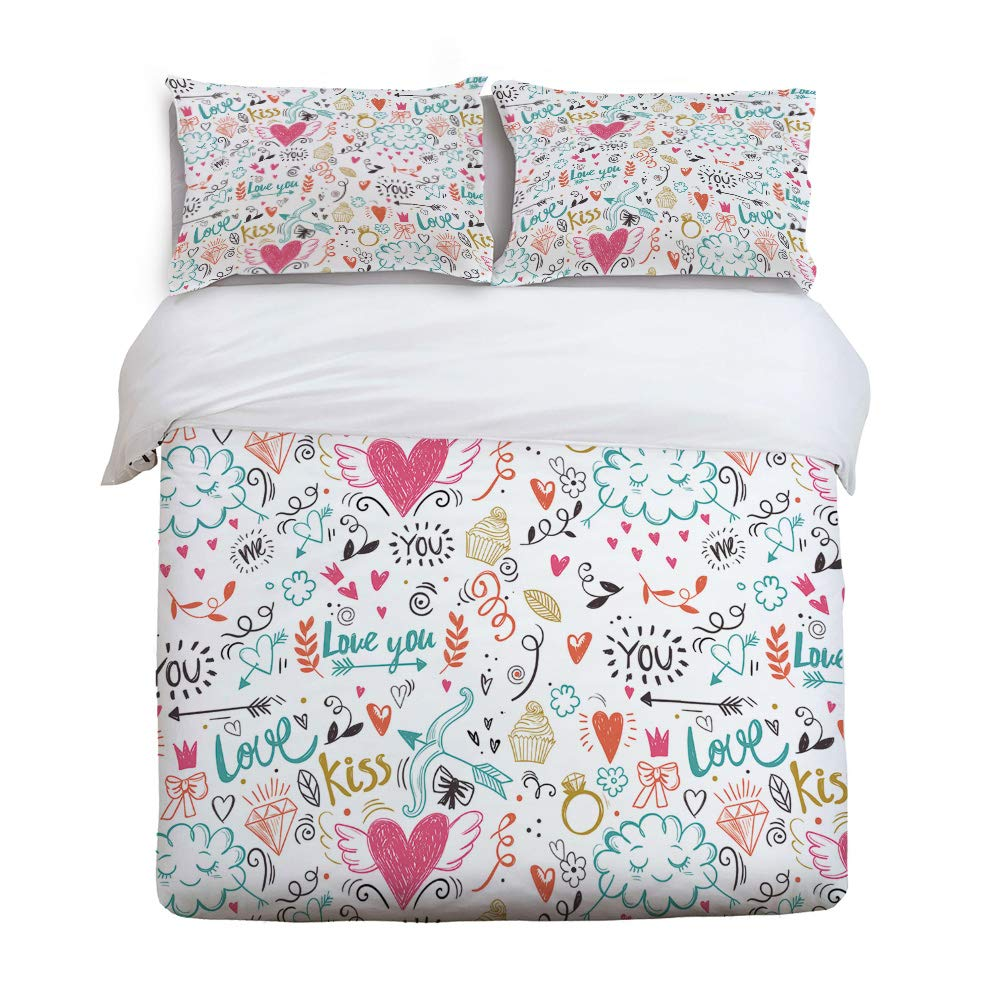GreaBen ツイルフラシ天布団カバーセット キッズ寝具セット 女の子用 男の子用 かわいいシロクマの動物柄ベッドセット 枕カバー2枚付き Twin Size 20181213gbnwhlwhlsjSCRY01929SJSAGBN B07LBPHHH8 Valentines-008gbn7447 Twin Size