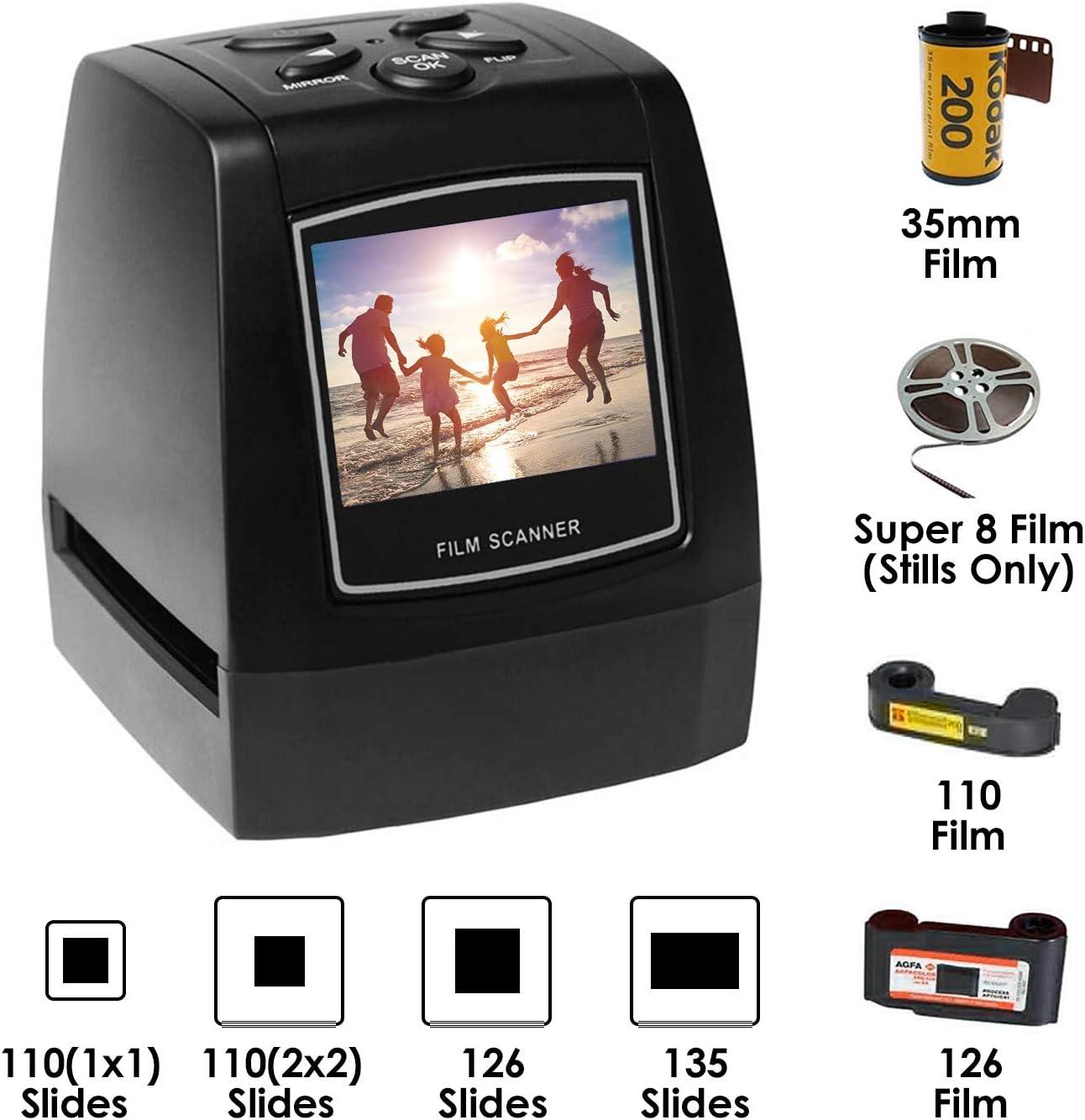35mm 135 Film Negative Scanner High Resolution Slide Viewer Film &Slide Mounts Feeder Digital JPEG Save SD Card (Black)
