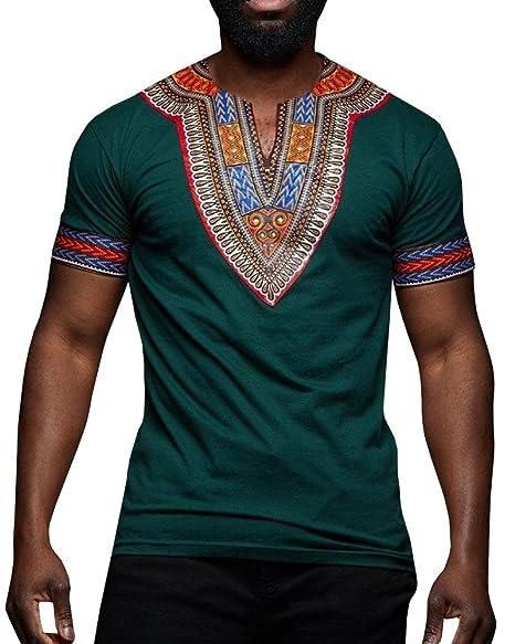 39d87423b Amazon.com: Beotyshow Mens V-Neck African Top Tribal Dashiki Floral Short  Sleeve T Shirt: Clothing