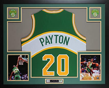 new concept a605e c22b1 Gary Payton Autographed Green Seattle SuperSonics Jersey ...
