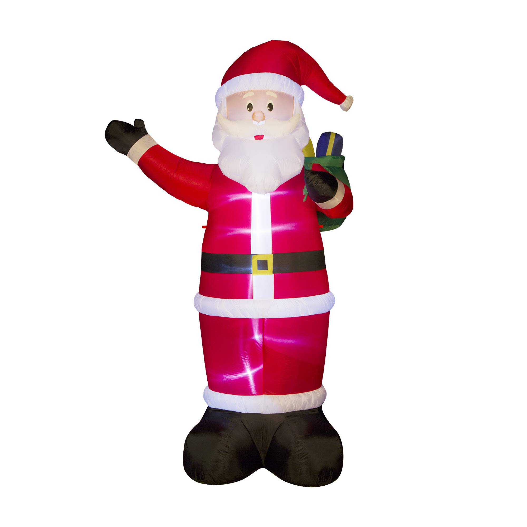 Glitzhome Christmas Outdoor Lighted Inflatable Decor (Santa 11.81'' H)