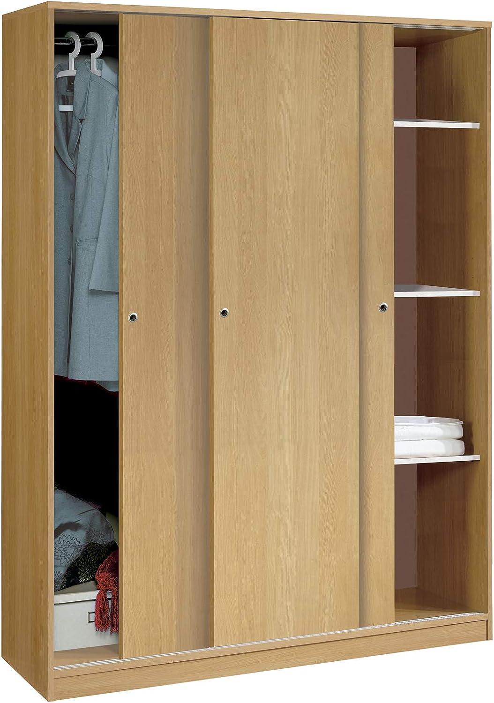 Armario Color Roble Grande de 3 Puertas correderas, estantes Regulables, Barra Interior incluida de Dormitorio. 200cm Alto x 150cm Ancho x 55cm Fondo