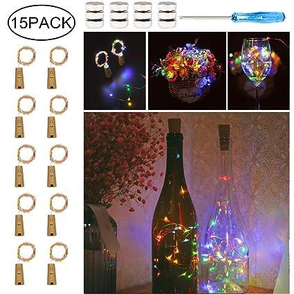 10 x 20 LEDs Guirnaldas luminosas Multicolor,SiFar 2M Lámparas de botellas, Tira de luz de corcho Tapa de botella para el hogar, al aire libre, jardín, ...