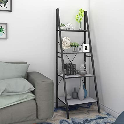 Lifewit Ladder Shelf 4 Tiers Book Shelf Bookcase Display Shelf, Plant  Flower Stand, Wood Storage Rack for Home/Office/Garden/Living Room, Metal  Frame.