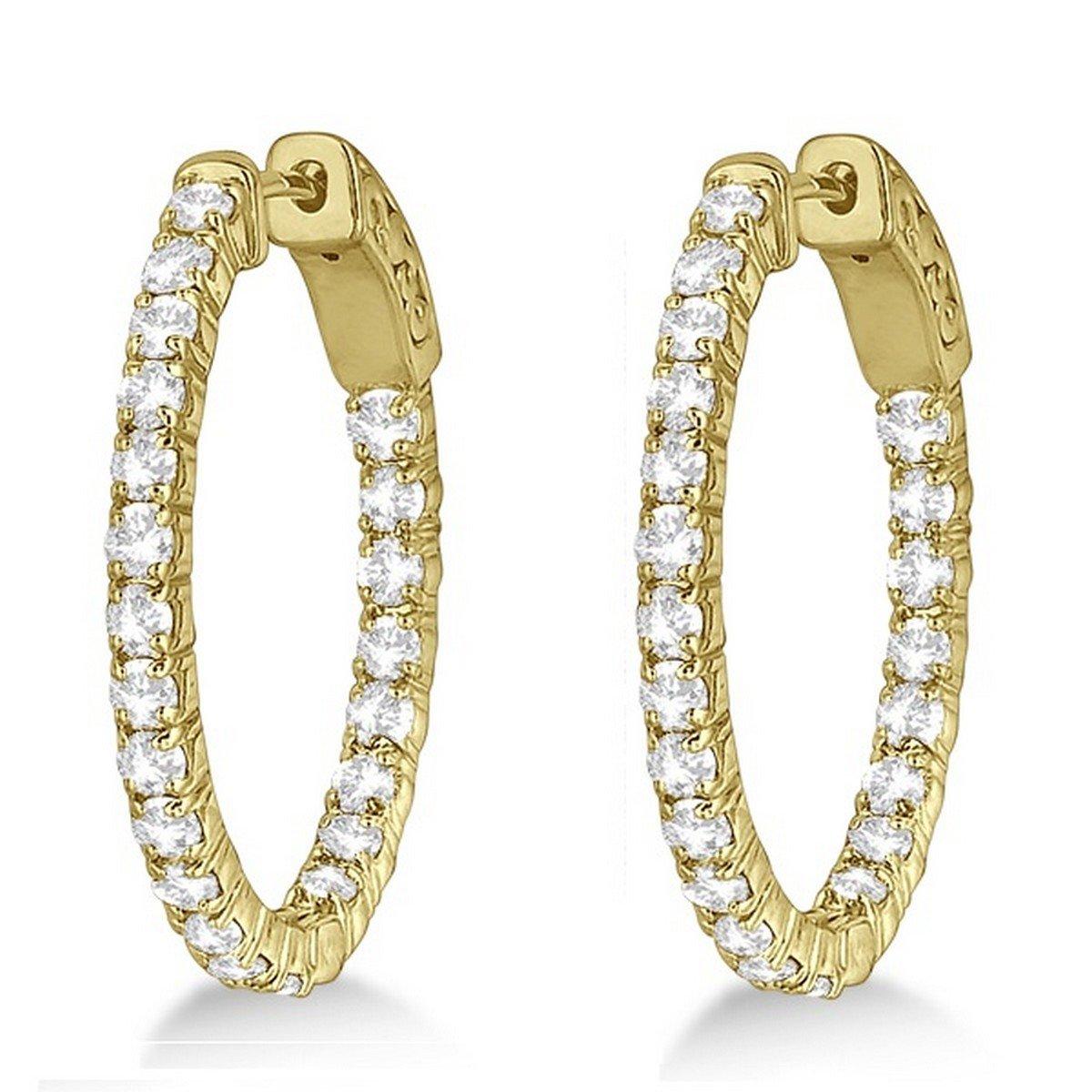 14k Gold Fancy Small Oval-Shaped Diamond Hoop Earrings 2.16ct
