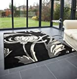"Modern Large Rug in Black Grey 120 x 160 cm (4' x 5'3"") Carpet"
