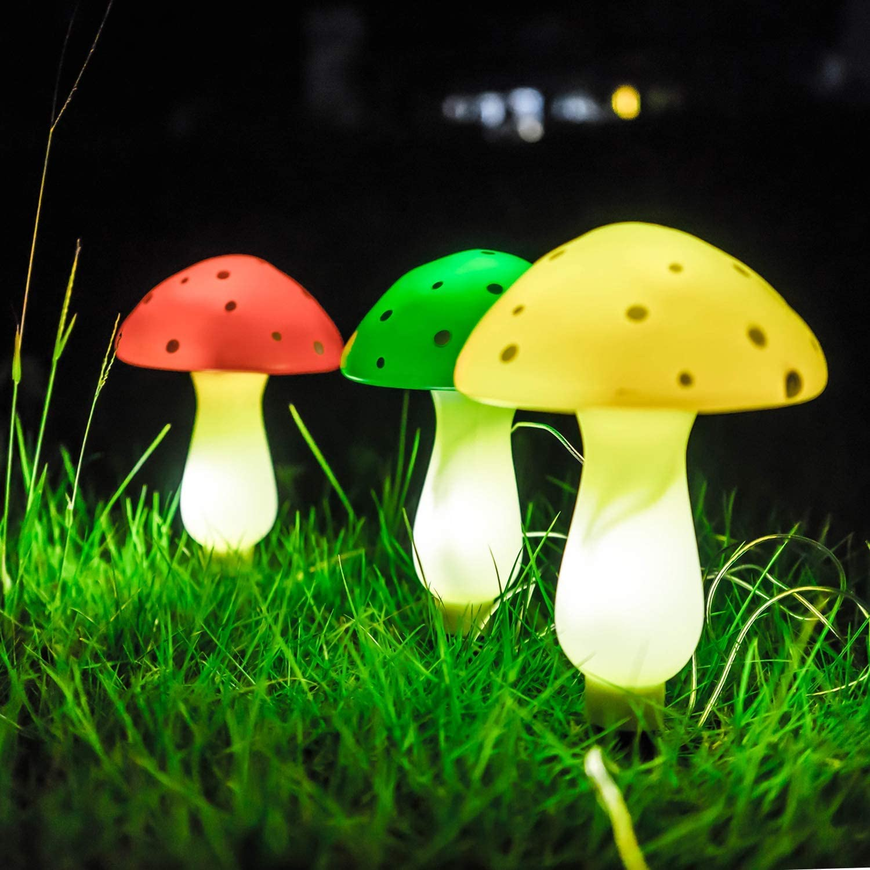 3 Path Light Red Yellow Orange Solar-Powered LED Mushroom Garden Path Light Kit