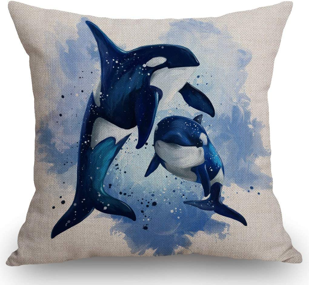 SSOIU Watercolor Whales Throw Pillow Cover, Two Killer Whales in The Ocean Cotton Linen Pillow Case Cushion Cover for Sofa Couch Decor 18