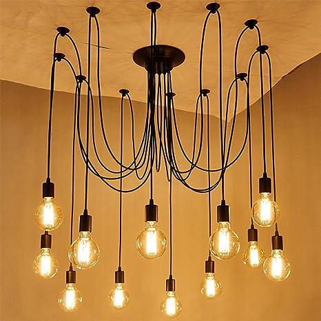 Vintage Industrial Hanging Chandelier Lighting Edison Light Bulb Lamp 110V 60W E26 Spider Ceiling