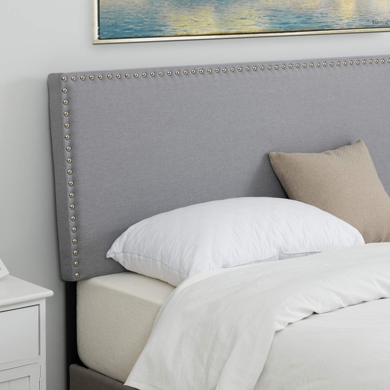 LAGRIMA Upholstered Nailhead Rectangular Headboard in Light Grey Fabric|Full/Queen|Height Adjustable by LAGRIMA