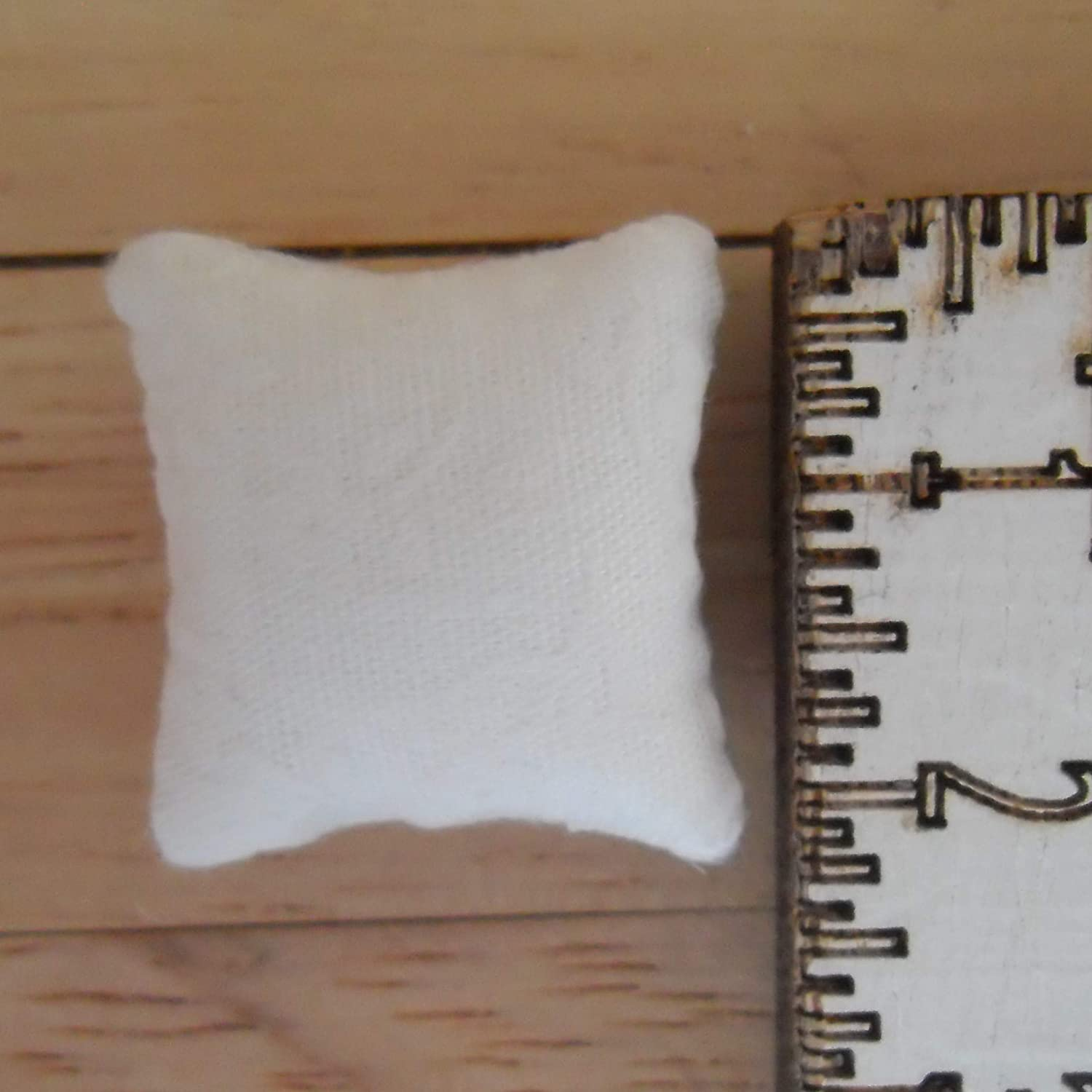 1//24th Scale Dolls House Printed Fabric Cushions Floral Design in White