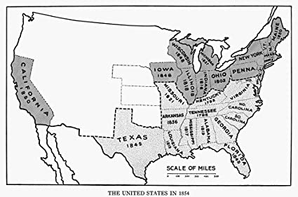 Amazon Com United States Map 1854 Nmap Of The United States At The
