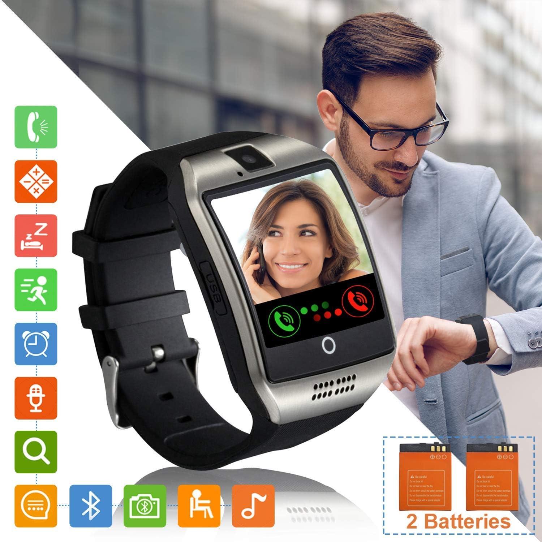 Tipmant Reloj Inteligente Mujer Hombre Smartwatch Pantalla táctil con Ranura para Tarjeta SIM Cámara Podómetro Moviles Buenos Pulsera de Actividad para Android Xiaomi Samsung Huawei (Plata)