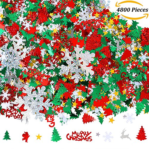 Aneco 100g/4800 Pieces Christmas Confetti Pentagram, Snowflake, Santa, Pine, Merry Christmas Alphabet, Elk Table Confetti Bright Christmas Decoration Set (Christmas Confetti) (Confetti Snowflake)
