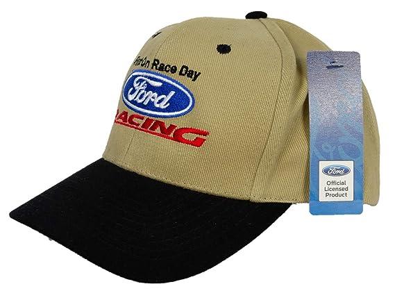 2f90865831e649 Amazon.com: Ford Racing Hat - Two Tone Fine Embroidered Logo Adjustable Cap  Khaki/Black: Clothing