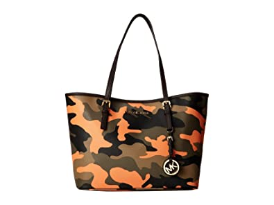 49a048ba56ef Image Unavailable. Image not available for. Color: MICHAEL Michael Kors  Small Jet Set Travel Tote in Poppy Orange Camo