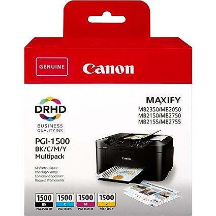 Canon PGI-1500 4 Cartuchos Multipack de tinta original Negro/Cian/Magenta/Amarillo para Impresora de Inyeccion de tinta Maxify ...