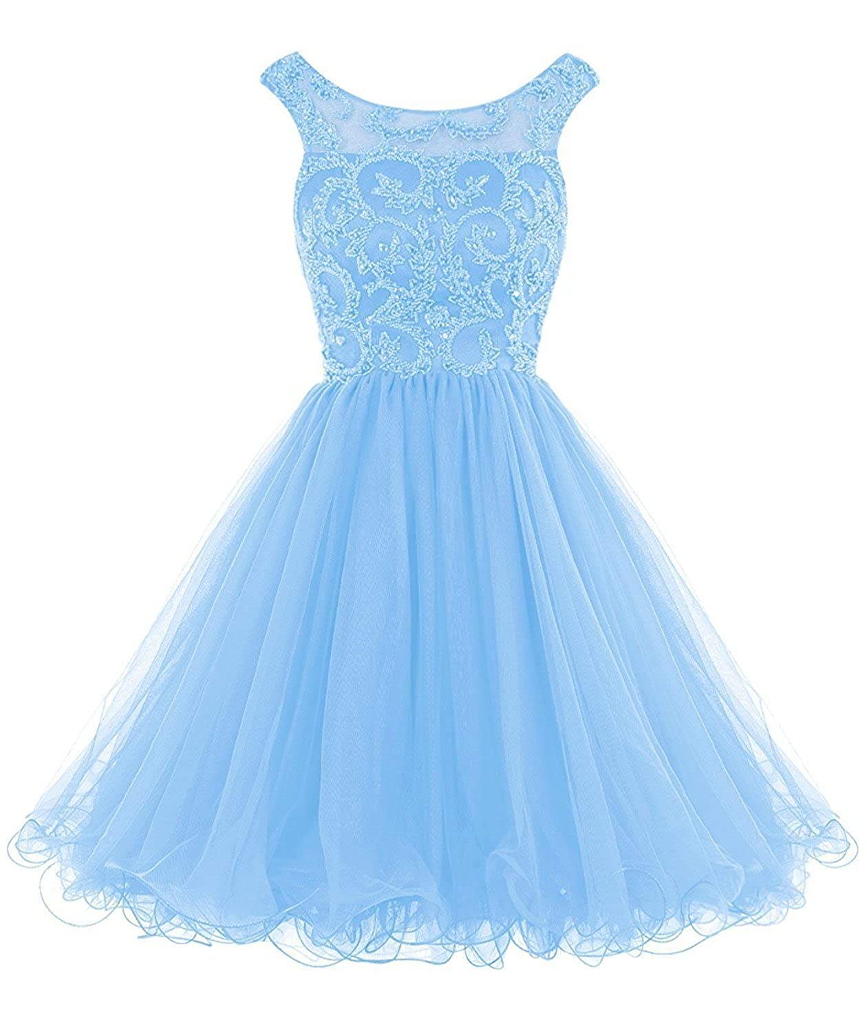 bluee Caissen Women's Short Ball Gown Illusion Scoop Neck Beading Rhinestones Tulle Prom Dress V Back with Zipper Party Wear