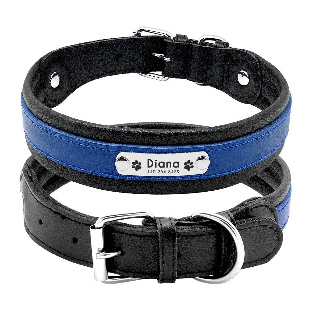 1b91171a9029 Pet Artist Collar para perro con nombre de perro grabado personalizado de  piel acolchada para mascotas