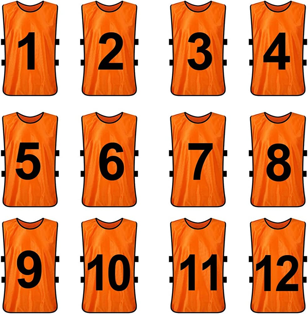TOPTIE Sets of 12 (#1-12, 13-24) Numbered/Blank Training Vest, Soccer Pinnies