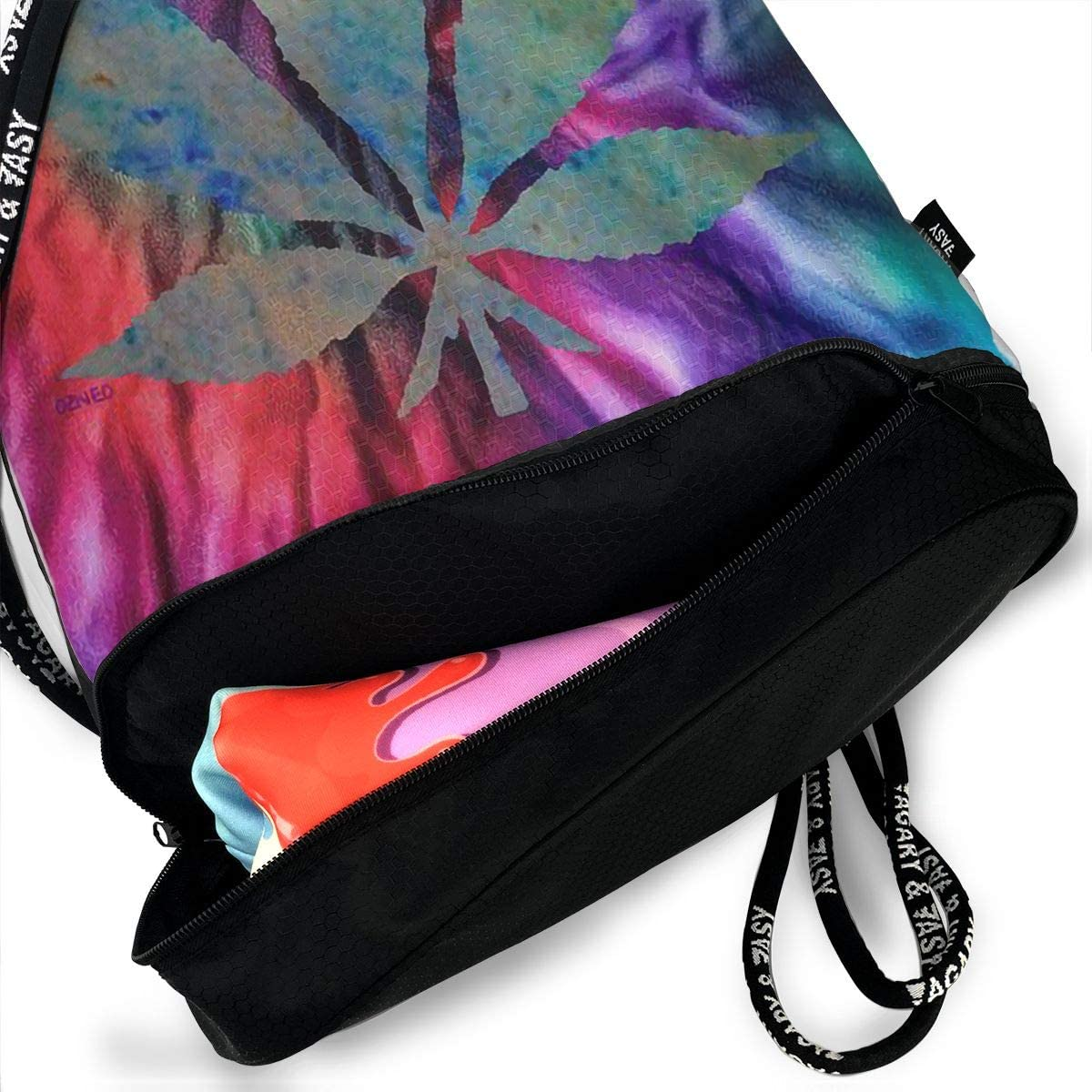 Drawstring Backpack Tie Dye Leaf Weed Shoulder Bags