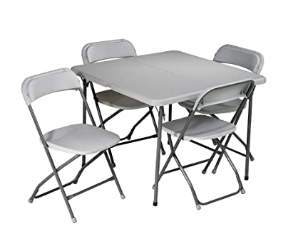 Office Star Resin 5 Piece Folding Chair And Table Set, 4 Chairs And 3