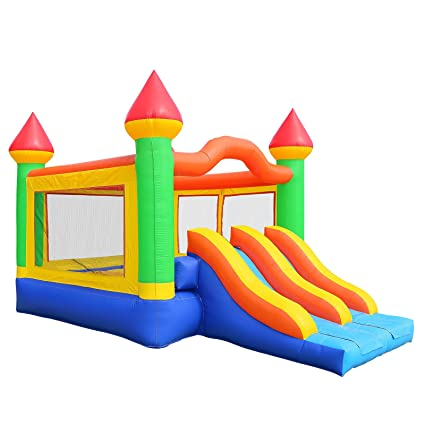 f1600f851f8cfb Amazon.com  Inflatable HQ Commercial Grade Mega Double Slide Castle Bounce  House 100% PVC and Blower  Toys   Games