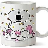 Tazas de desayuno divertida con unicornios - Unicornio pensando en café - Taza graciosa y original - Cerámica 350 ml