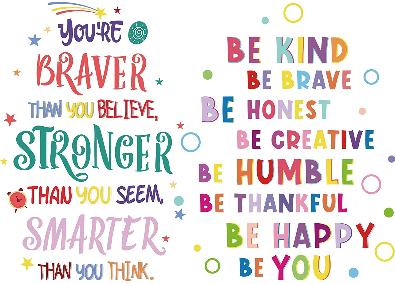 6 Pieces Colorful Inspirational Wall Decal Motivational Phrases Wall Sticker You're Braver than You Believe Decals for Classroom Nursery Kids Home Decoration