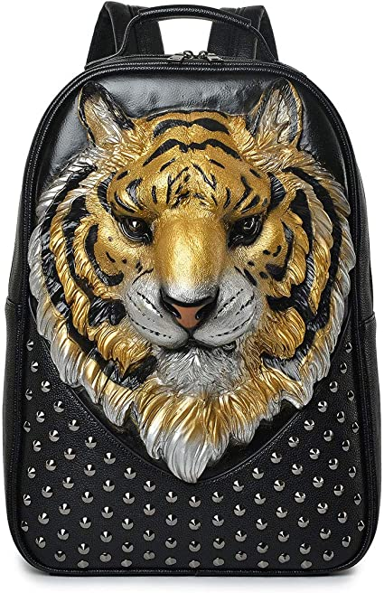 Backpack Pattern 3D Personality Tiger Head Backpack Male Creative Rivet Korean Version The Cool Animal Tide Package,Gold