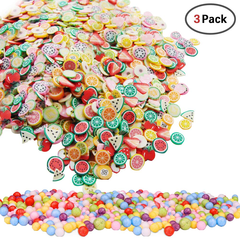 1000 Pieces Fruit Pattern Slices + 2 Pack Styrofoam Balls for Slime Making Nail Art Decoration Arts Crafts Supplies SECOWEL 4336860814