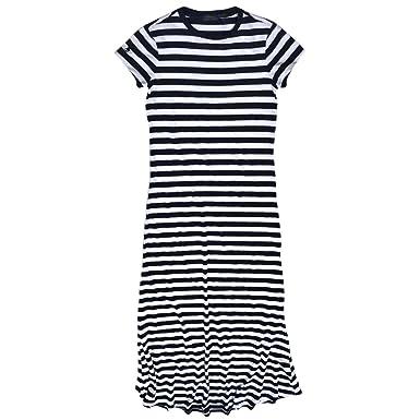 RALPH LAUREN Women\u0027s Scoop-Neck Stripes Sleeve Short Straight Dress, Navy/ White, X-Small at Amazon Women\u0027s Clothing store: