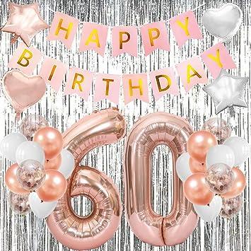 Amazon.com: Decoración para 60 cumpleaños, oro rosa ...
