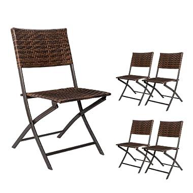 Devoko Patio Rattan Folding Chair Camping Garden Pool Beach Lawn Deck Using Chairs Space Saving Set of 4 (Brown)