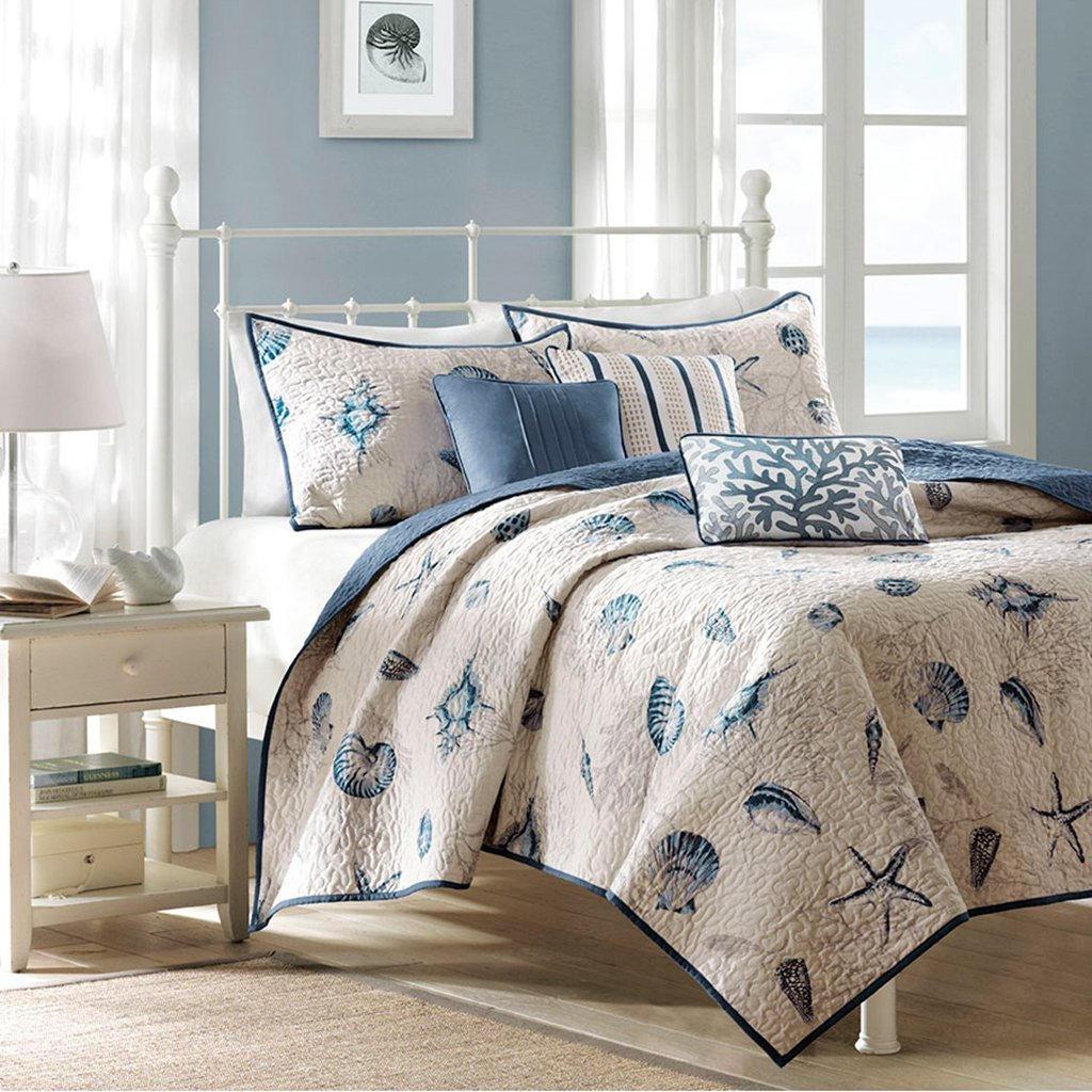 Madison Park Bayside Full/Queen Size Quilt Bedding Set - Blue, Khaki, Seashells – 6 Piece Bedding Quilt Coverlets – 100% Cotton Sateen Bed Quilts Quilted Coverlet