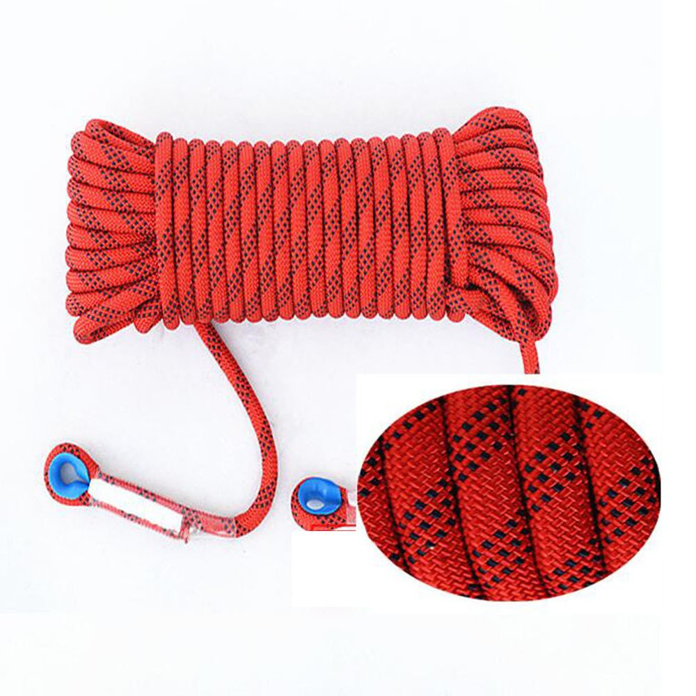 LDFN Rock Climbing Rope Bold Outdoor Abrasion Resistant Static Downhill Safety Rope Rescue Escape Rope,Red-50m12mm