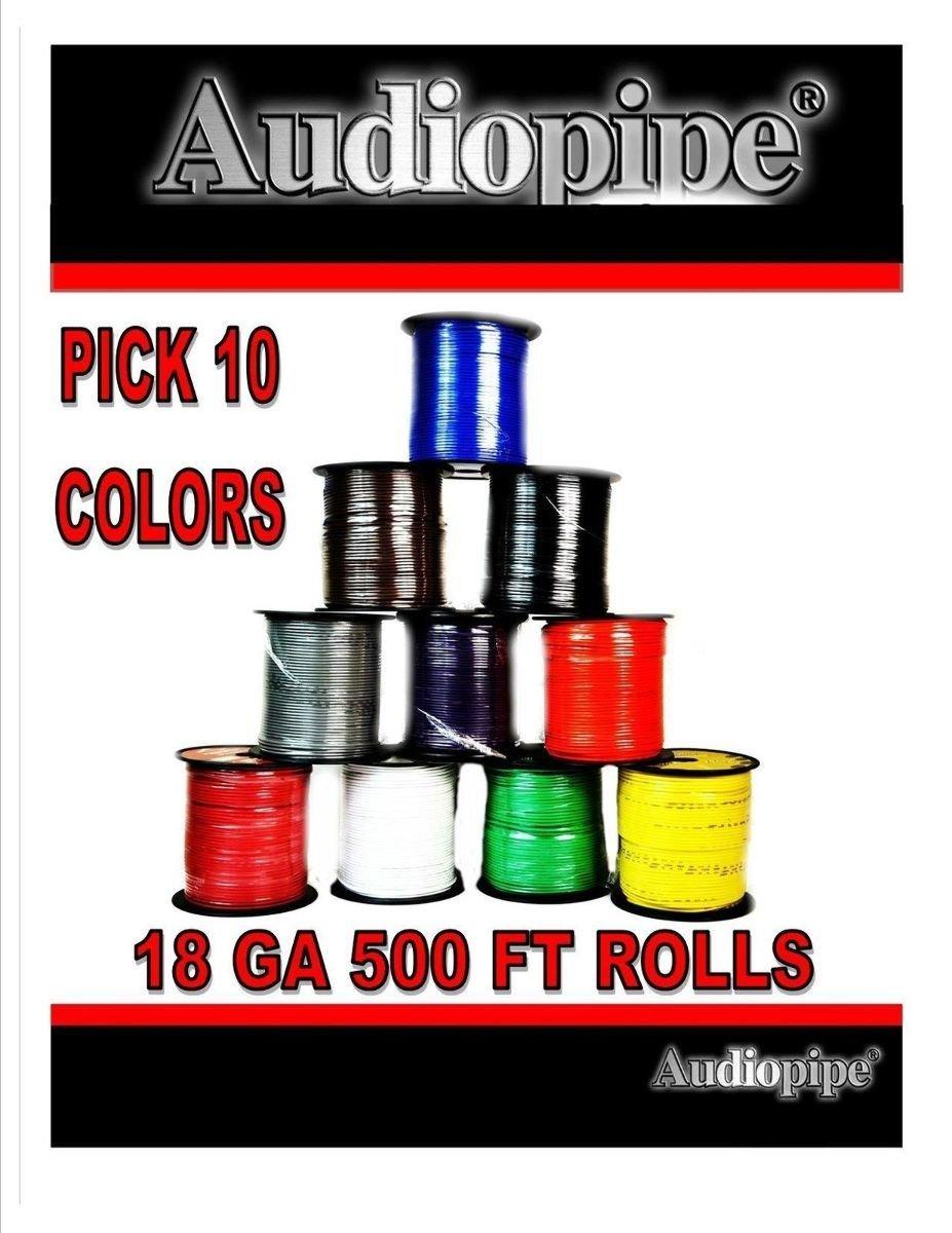 18 GA 500 Feet Audiopipe Primary Power Wire Remote Car Audio Home (10 Rolls)