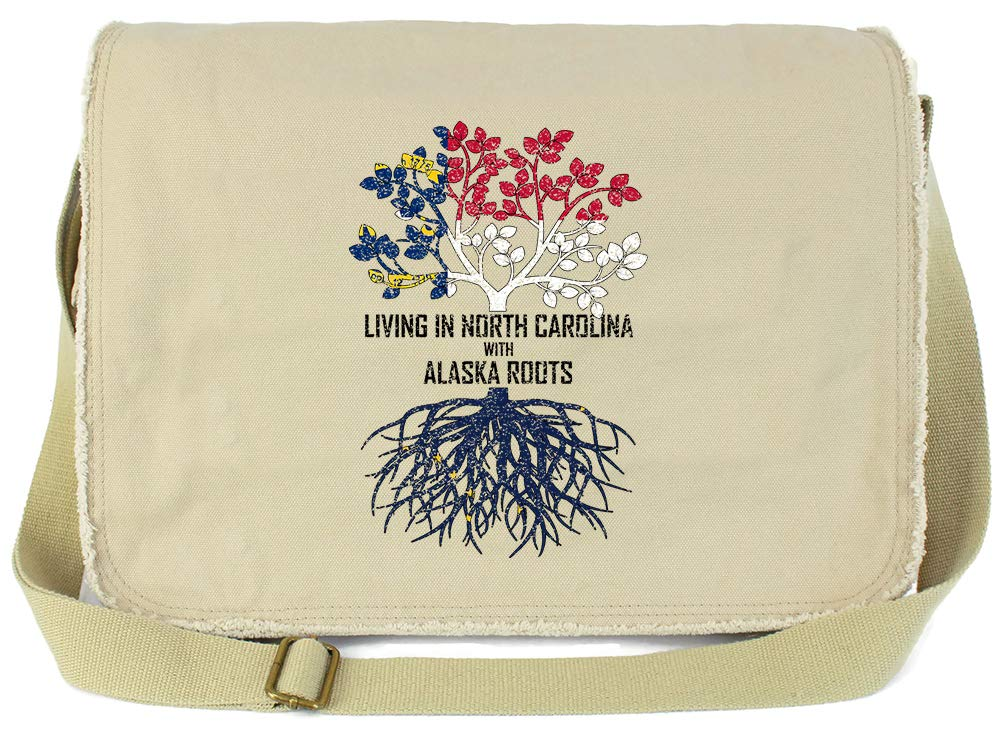 Tenacitee Living In North Carolina with Alaska Roots Grey Brushed Canvas Messenger Bag
