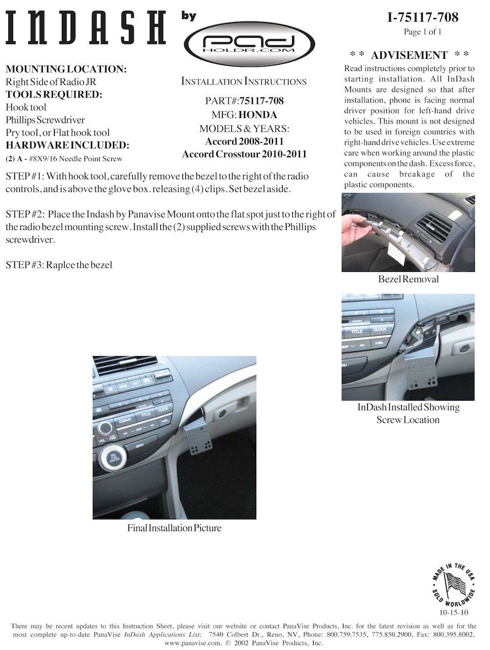 Padholdr Ram Lock Series Lock and Dock iPad Dash Kit for 2008-2011 Honda Accord//Crosstour Pad Holdr PHRLD3275117-708