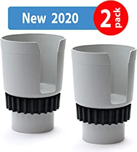 Gadjit Cup Keeper 2.0 (2 PK) Cup Holder Adapter w/Adjustable Base for Hydro Flasks 18 21 24 oz, Yeti Tumbler 20 & 30 oz, Coffee & Travel Mugs 28 oz, Fits up to 3.25
